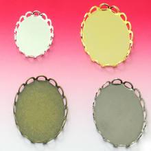 Lot de 20 pendentifs, Cabochon ovale en dentelle, 13x18/18x25/30x40mm, fixation de diamants, plateau vide pour la fabrication de bijoux, vente en gros