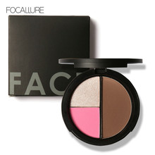 FOCALLURE 3 Colors Shimmer Bronzers and Highlighters Powder Makeup Blusher Highlighter for Palette Contour