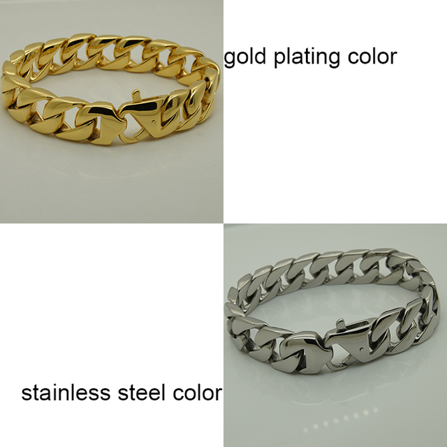US $23 39 40% OFF|silver/gold plating simple & clean design men/boy 316L  stainless steel bracelet-in Chain & Link Bracelets from Jewelry &  Accessories
