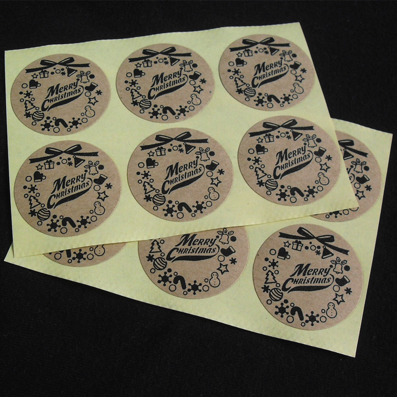Round 3CM stickers Merry Christmas Gift Packing kraft paper label, For baking package box / bags / cup seal label 100pcs/lot 18mm round lead free packing rohs label stickers 15 x 50 pack
