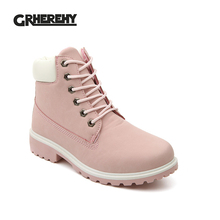 GRHEREHY Women Boots PU Leather Platform Women Shoes Suede Rubber Women Ankle Boots Timber Boots Martin brand Shoes #C1