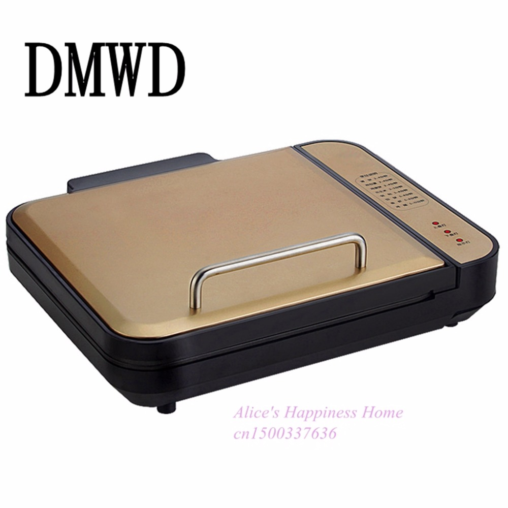 DMWD Multifunctional suspension double-sided frying machine Flapjack enhance household electric hotplate barbecue pizza jiqi electric baking pan double side heating household cake machine flapjack pizza barbecue frying grilling plate large1200w