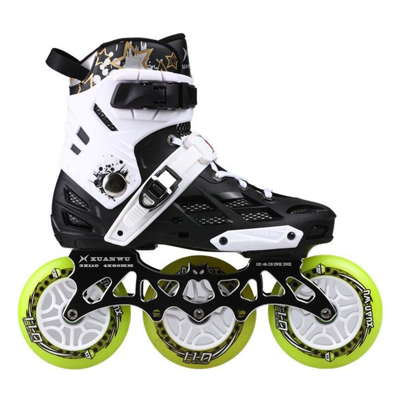3X110mm Adultes Patins à Roues alignées pour 110mm Max Roue De Course Chaussures de Patinage avec ILQ-9 Roulement CNC alliage 7075 Cadre de patin Base