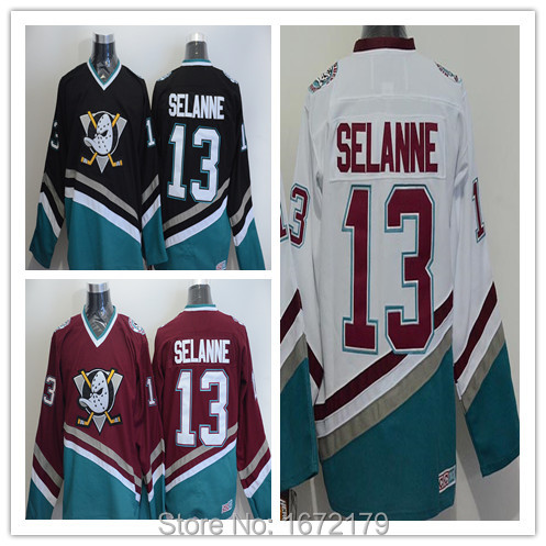 0f8be9fe7 ... CHEAP SALE 13 TEEMU SELANNE JERSEY VINTAGE ANAHEIM MIGHTY DUCKS BLACK  WHITE RED STITCHED THROWBACK .