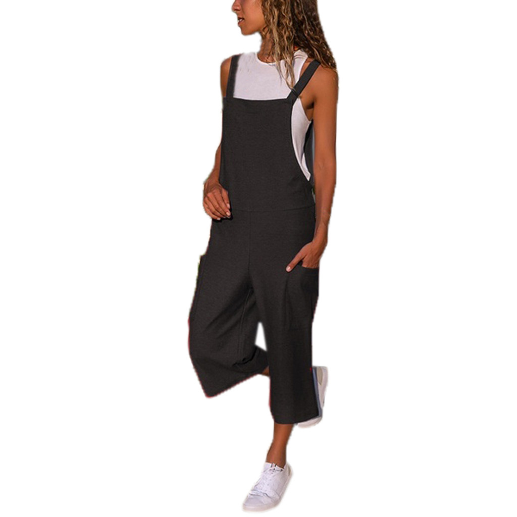 Summer Jumpsuits Women Sleeveless Loose Dungaree Cotton Linen Long Playsuit Pocket Long Wide Leg Romper Party Jumpsuit#5$