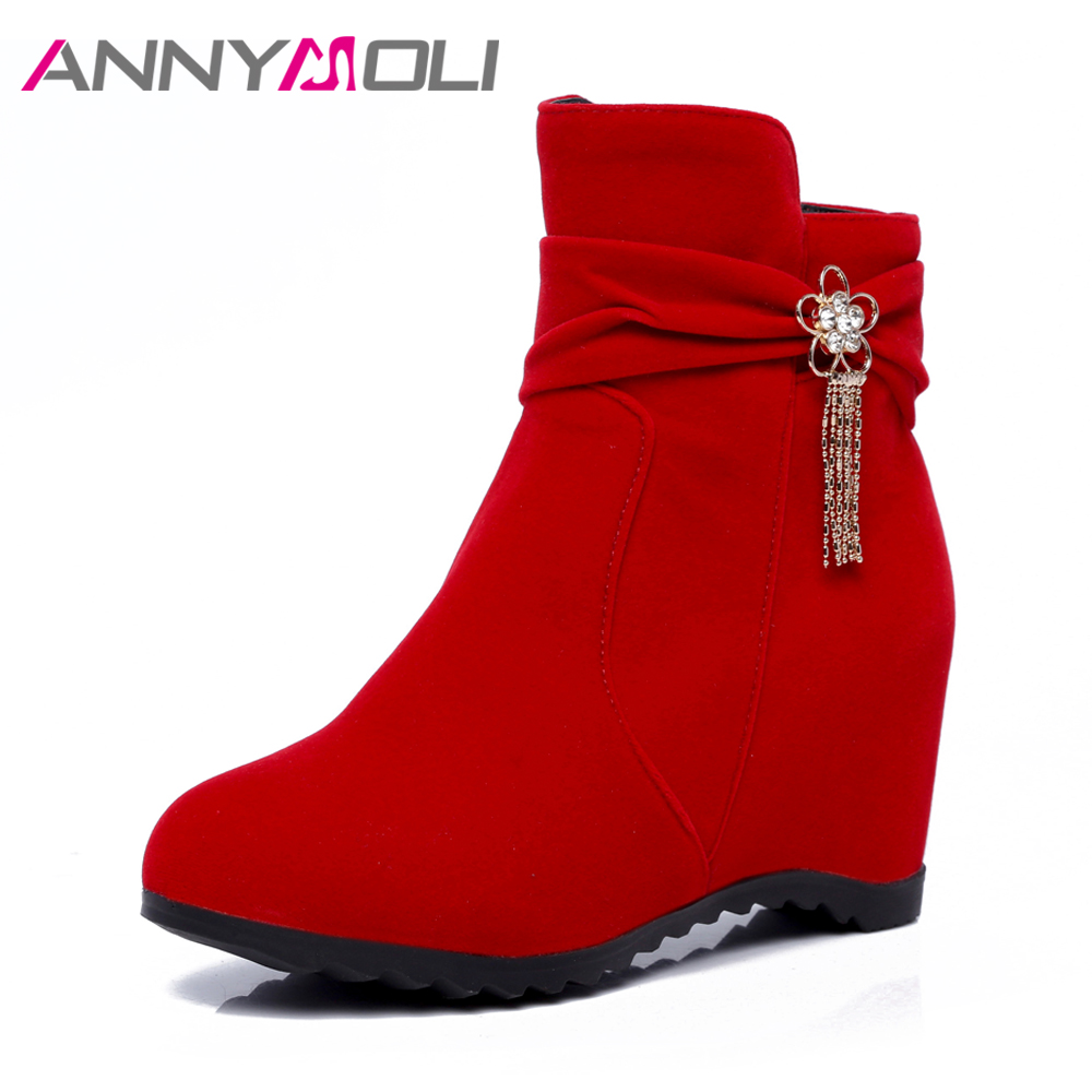 ANNYMOLI Boots Women Spring Tassel Increasing High Heel Ankle Boots Crystal Wedges Heels Short Boots Handmade Shoes 2018 Red
