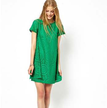 Large-size round-collar short-sleeved loose-cut lace kaleidoscope A-shaped in Europe and America Best Women Dresses