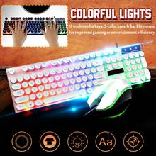 Leory Rainbow Backlit USB Wired 104-Key Mechanical Keyboards and 1600 DPI LED Mouse Combo USB Office Background LED Light(China)