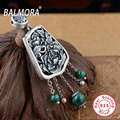 New Exquisite 100% Pure 925 Sterling Silver Jewelry Retro Peony Malachite Charm Pendants Fit for Necklaces Women Jewelry SY12348