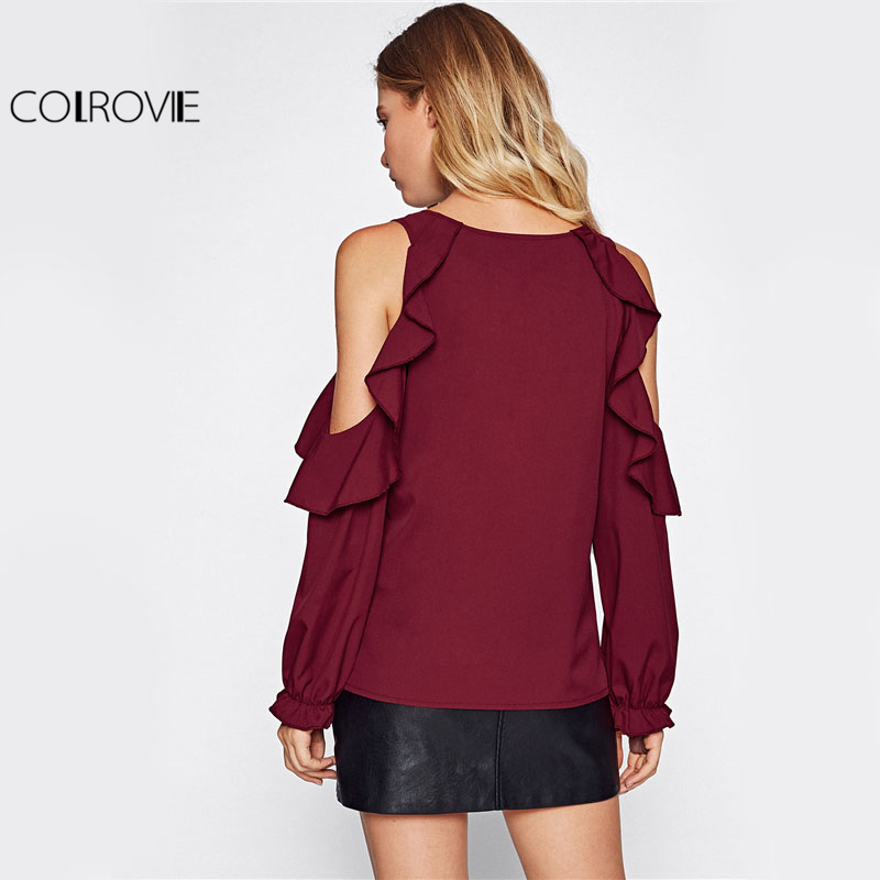 223ed4c2b3db5 COLROVIE Open Shoulder Ruffle Blouse Elegant Women Burgundy Autumn Tunic  Tops Fall Fashion Sexy Cut Long Sleeve Slim Blouse-in Blouses   Shirts from  Women s ...
