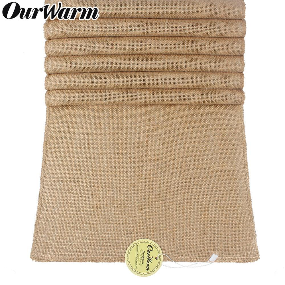 OurWarm Wedding Party Table Runner Burlap Natural Jute Imitated Linen Rustic Table Decoration Home Table Cloth