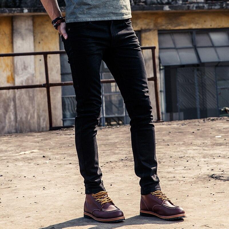 2018 nouveauté Slim Jeans hommes lavage à la main noir Denim Stretch hommes Skinny Jeans Slim Fit Homme pantalon crayon pantalon F49-in Casual Pantalon from Vêtements homme    3
