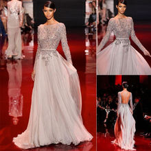 Real photo scoop neck Beaded Evening Prom Dresses A Line chiffon Pageant Party Gowns Custom