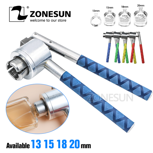 ZONESUN Stainless Steel Manual Perfume Bottle Crimper Hand Sealing Machine For 13 15 18 20mm Medical Bottle Flip Off Caps Sealer