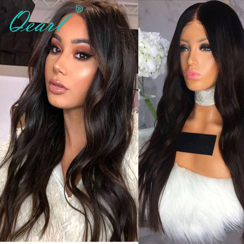 Средняя часть 360 Кружева Фронтальная парик бразильского объемная волна-Реми 130% плотность натуральная Цвет для черный Для женщин 360 человече...