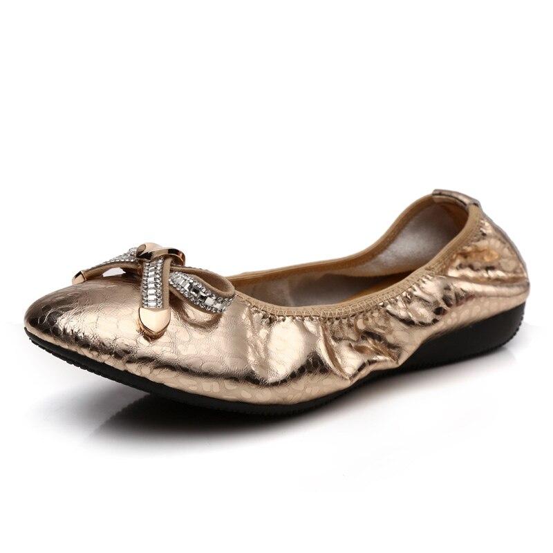 ФОТО Women's Shoes Ballerina Flats 100% Genuine Leather Ladies Slip on Ballet Flats Bowtie Brand Designer Fashion Female Shoe(738-5)