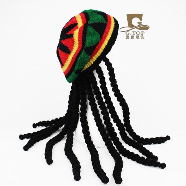 Fiesta de disfraces disfraz Hippie boina Dreadlocks peluca jamaicano rasta  Bob Marley Caribe Fancy Dress Prop 46b2c4eaa61