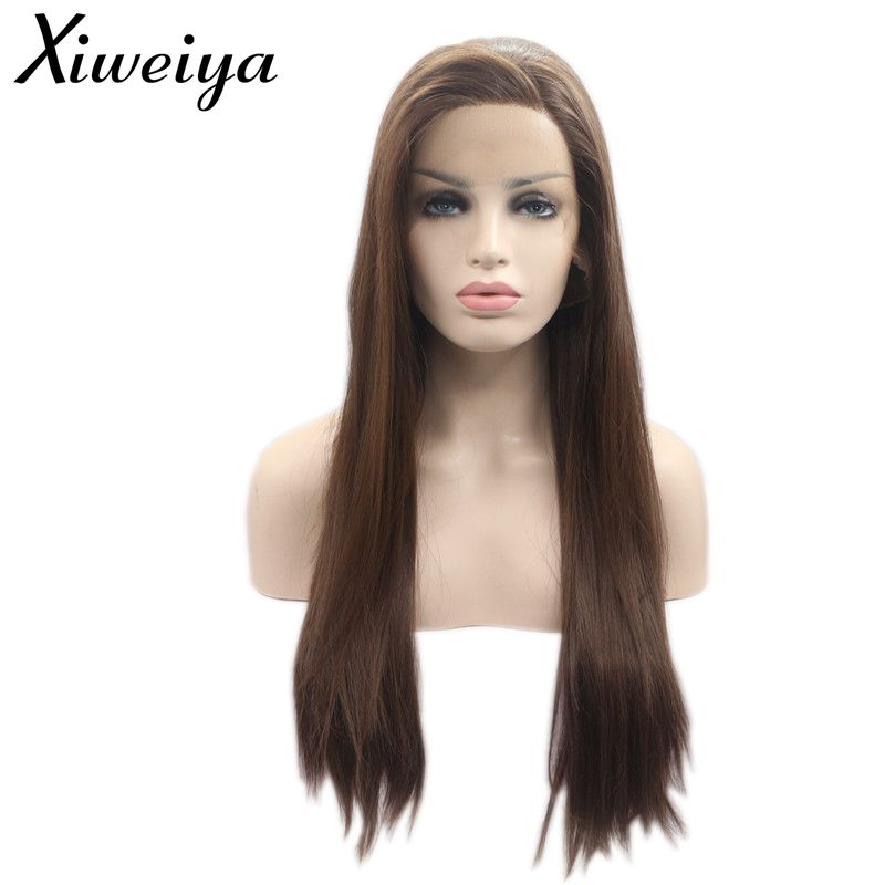 Xiweiya Heat Resistant Fiber Hair Side Part Long Silky Straight Brown Synthetic Lace Front Wig For Women Half Hand Tied Cosplay