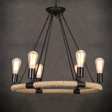 цена Rope Industrial Pendant Lights Living Room Restaurant Bar Cafe Edison lamps Retro Hanging Lamp lamparas colgantes онлайн в 2017 году