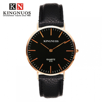 Genuine KINGNUOS Fashion Casual Mens Women Wristwatch Simple Style Watch Leather Strap Quartz Lover Watches Femino Clock Relogio