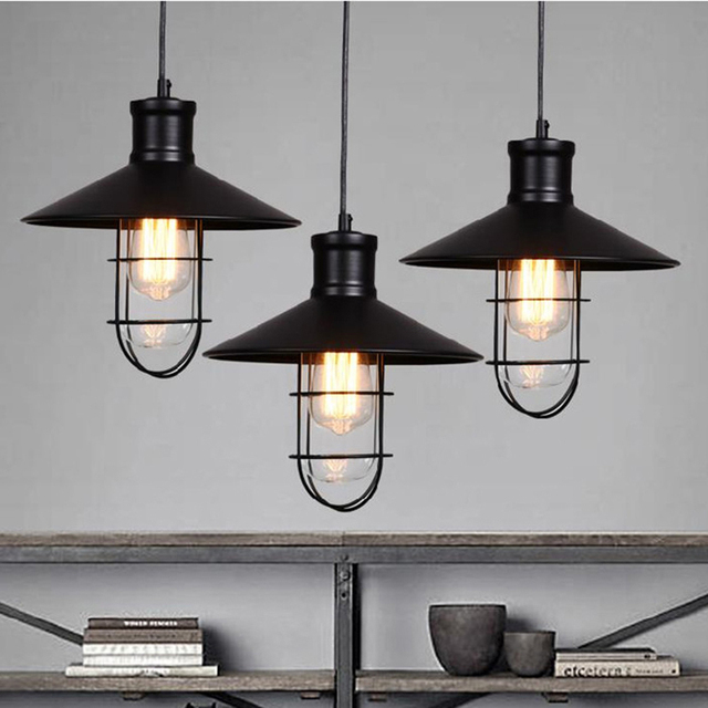 Rustic pendant light industrial pendant lights vintage led for How to make an industrial lamp