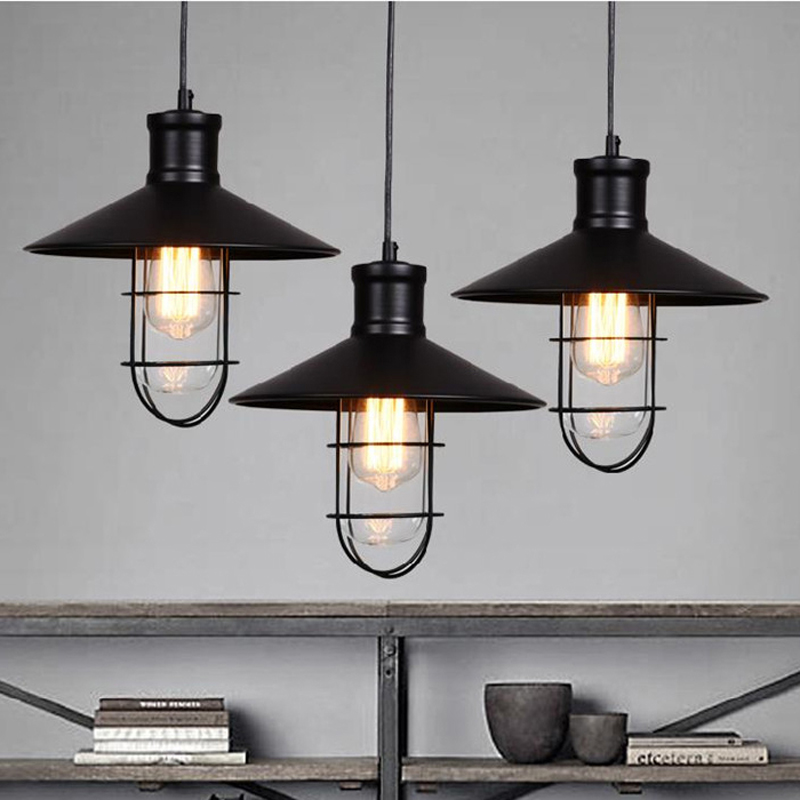 Old Industrial Pendant Light: Black Rustic Pendant Lights Vintage Industrial Pendant