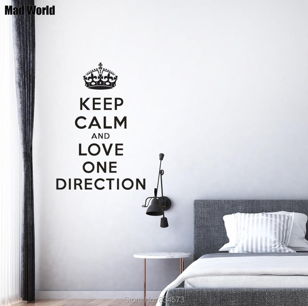 Mad World-KEEP CALM AND LOVE ONE DIRECTION 1D Wall Art Stickers Wall Decal Home DIY Decoration Removable Decor Wall Stickers