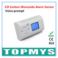 Free Shipping 100pcs/lot CO Carbon Monoxide Alarm Sensor with LCD Display Voice prompt  Home Security Carbon Monoxide Detecter