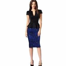 Women Sexy Mature V Collar Dresses Waist Elastic Leaf Package Hip Dress  Stitching Two False Slim e5a2e50e6ec2