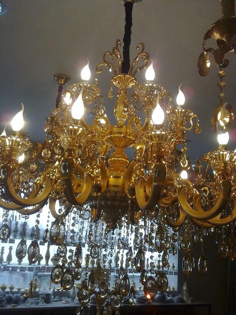 Современные латунный канделябр для гостиной кухня люстра дизайнер люстры подсвечник старинные промышленные люстра хрустальная синяя ламп... - 3