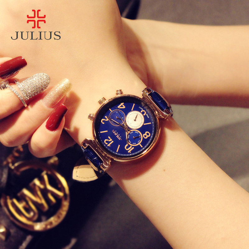 ФОТО Real Functions Julius Women's Watch Swiss Quartz Fashion Hours Dress Shell Sport Leather Auto Date Girl Birthday Gift Box