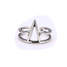 Simple Geometric Triangle 925 Sterling Silver Rings For Women Adjustable Size Finger Ring Fashion sterling-silver-jewelry