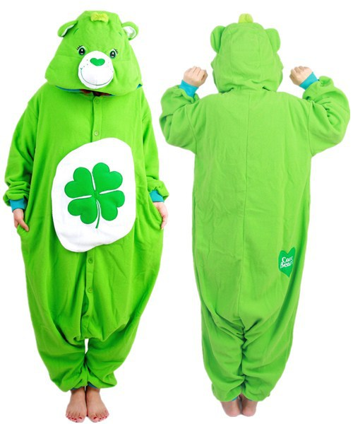 Green Four-leaf jumpsuit Clover Lucky Care Bear Pajamas Adult Women Men Unisex Onesie Hooded Romper Party Costumes - Dream 4 Ever Store store