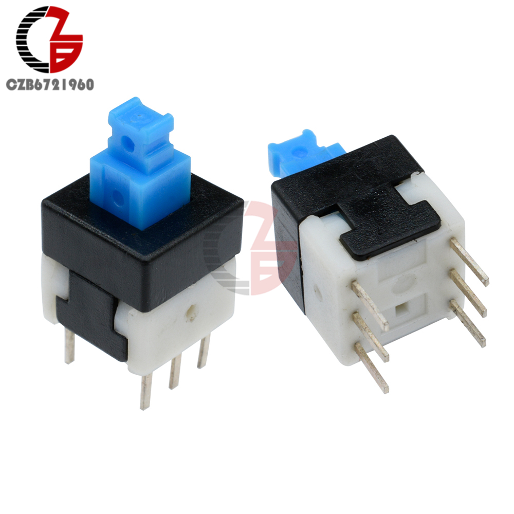 10pcs Push Button Self Latching Momentary Tactile Switch 8x8mm Blue Cool Electronics Circuits A 6 Pin