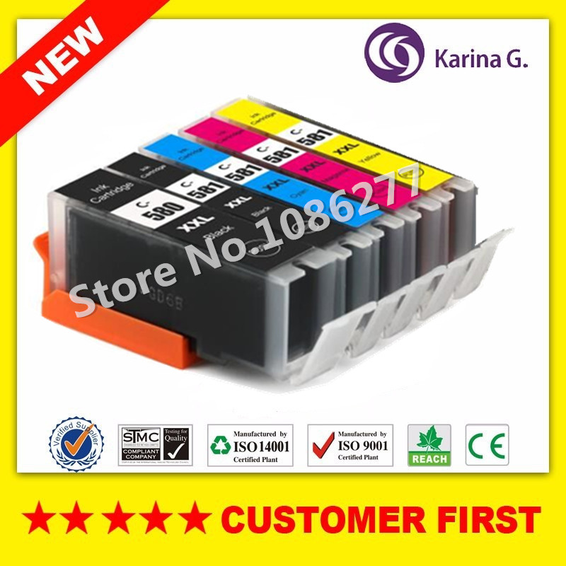 Compatible for Canon PGI-580 CLI-581 PGI580 CLI581 Ink Cartridge Suit For Canon PIXMA TR7550 TR8550 TS6150 TS6151 TS8150 5pk pgi580 cli581 compatible ink cartridge for canon 580 581 suit for tr7550 tr8550 ts6150 ts6151 ts8150 ts9155 printer