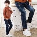 New spring children clothing boys good denim pants Kids boys casual zipper leather label elastic jeans pants  4-9 years !
