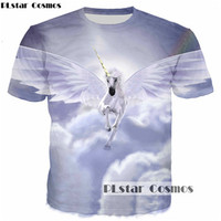 PLstar Cosmos Angel Unicorn 3D Print T Shirt Women Men Casual Tshirt Summer T Shirt Harajuku