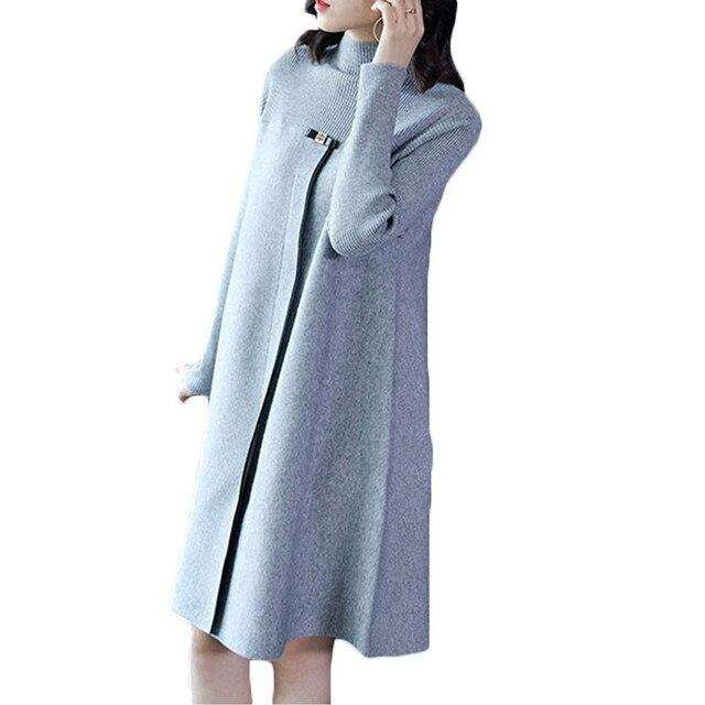 סרוג סוודר שמלת נקבה 2018 סתיו חורף חדש מוצק צבע חצי גבוהה צווארון רופף גדול גודל נשים סוודר שמלת LQ385