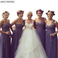 Лаванда с открытым плечом тюль плиссированные платья подружки невесты платье Свадебная вечеринка платья Robe Demoiselle D'honneur Longue