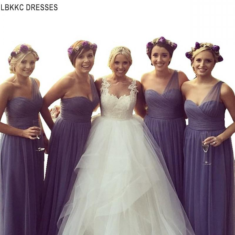 Lavender One Shoulder Tulle Pleated   Bridesmaid     Dresses     Bridesmaid   Gown Wedding Party   Dresses   Robe Demoiselle D'honneur Longue