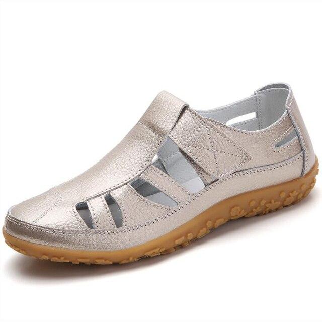 2019 נשים גלדיאטור סנדלי נעלי עור אמיתי חלול שטוח סנדלי גבירותיי מקרית רך תחתון קיץ נעלי נשים חוף סנדל