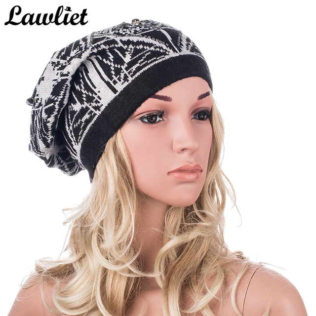 234bb937e077e4 Winter Women Hat Autumn Printed Rhinestone Cotton Slouch Beanies Cashmere  Bonnet Warm Oversize Cap Crochet Knit