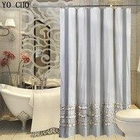 YO CHO Elegant Vintage Bathroom Curtain Home Decor Luxury Bath Curtain Waterproof Polyester Fabric Modern Lace Shower Curtain