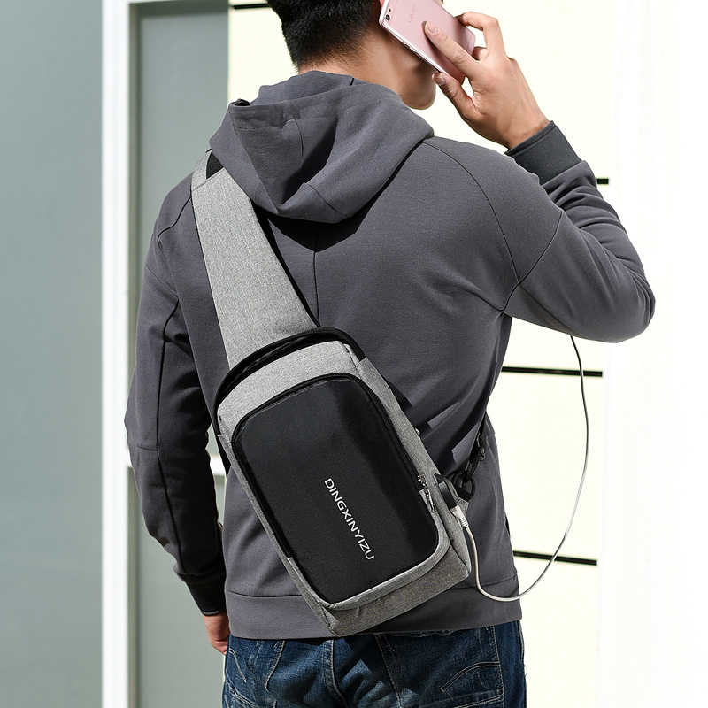 DINGXINYIZU pequenos sacos crossbody para sacos de homens mensageiro sling bag peito das mulheres uma bolsa de ombro carga usb mini viagem bagpack