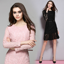 2017 New Fashion Spring Women's Temperament Lace Dresses Femme Casual Sashes Clothing Women sexy Slim Party  Dresses Vestidos