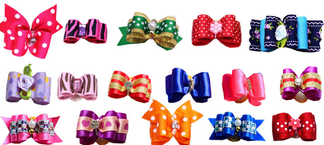 120PCS Mix Designs Pet Dog Bows with Rhinestone Crown Pearl Pet Dogs Bows Bowknot  Dog Hair Bows Grooming Accessories Product 3