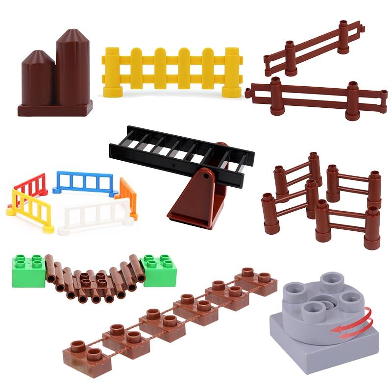Grandes blocos de construção fazenda escada cerca de hedge ponte suspensão tijolos acessório brinquedos para crianças Compatível com dom Duplo