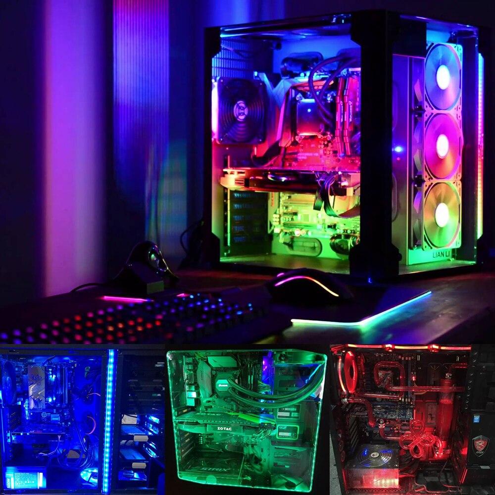 Coolo 50/100/120/200 cm Magnétique RGB LED Bande Lumière PC Ordinateur Cas Magnétique Bande Lumière, SATA Alimentation