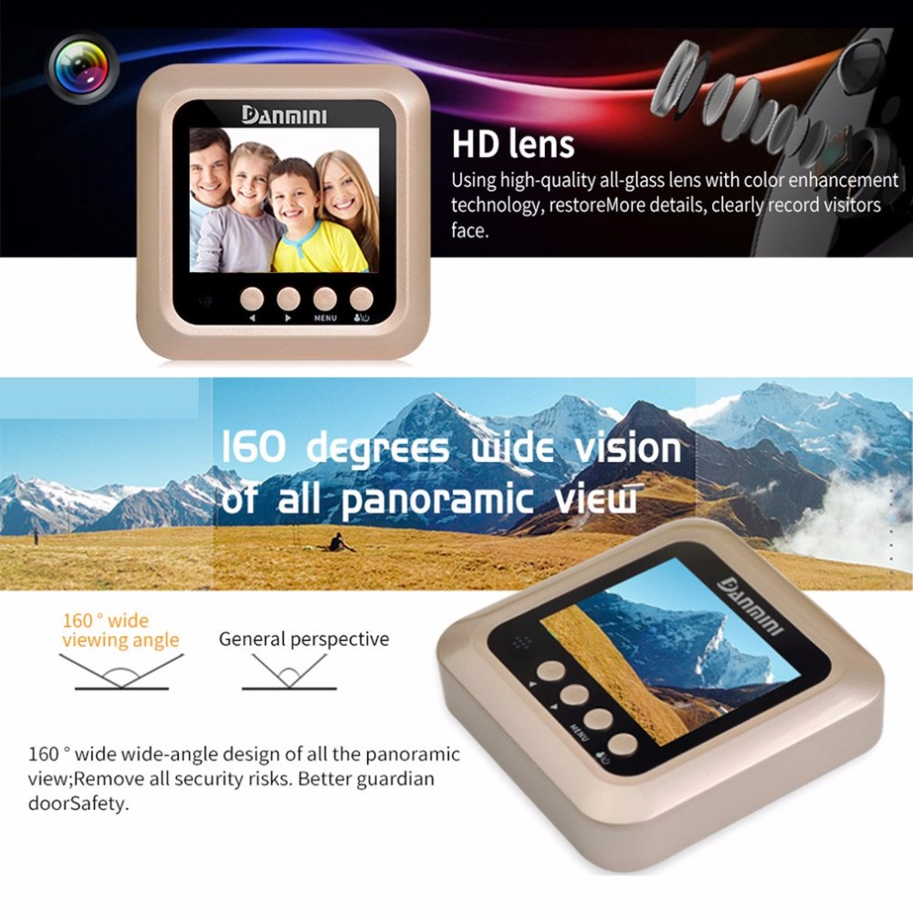 Danmini W5 2.4 Inch TFT Color Screen Display Night Vision Camera Video Camera Visual Doorbell No Disturb Peephole Viewer original danmini 3 0 tft lcd color screen door peephole viewer ir led night vision light doorbell 145 degrees view angle system