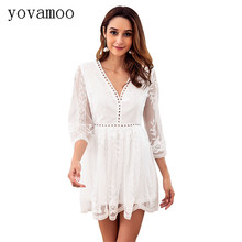 Yovamoo White Dresses For Women 2018 Autumn Vintage Lace Gauze Patchwork Embroidery Sexy V-neck Three Quarter Hollow Out Dress